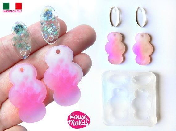 Set of 4 Flats 2 Ovals and 2 Clouds Clear Mold with  Pre Made Holes on Top! Transparent Mold to make earrings or pendants: super  shiny