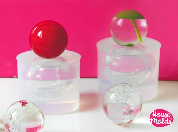 2 Spheres Clear Molds  ,Molds for  20 mm  2 resin Balls,pendants round orbs maker,super shiny surface!