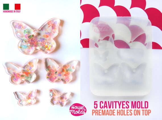 Butterflies Set of 5 cavityes Clear Mold+ Pre-Made Holes on top ! Transparent Mold to make statement necklaces earrings and more super shiny