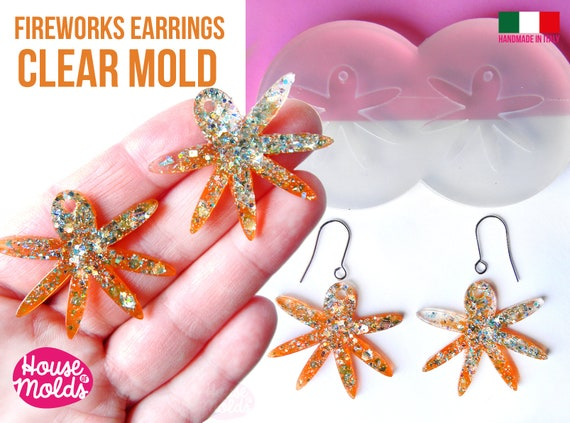 Fireworks earrings Clear Molds , Premade Holes on top , measurements 39 x 34 mm thickness 2 mm  easy and  super shiny - house of molds