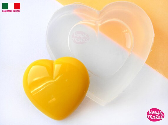 Smooth Heart Clear Silicone Mold - HOUSE OF MOLDS 21 mm x 23  mm pendant mold for resin,super shiny surface easy to use
