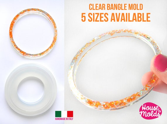 BOLOGNA Plain Bangle Clear Mold,resin bangle mold, 5 SIZES AVAILABLE ,super shiny results!