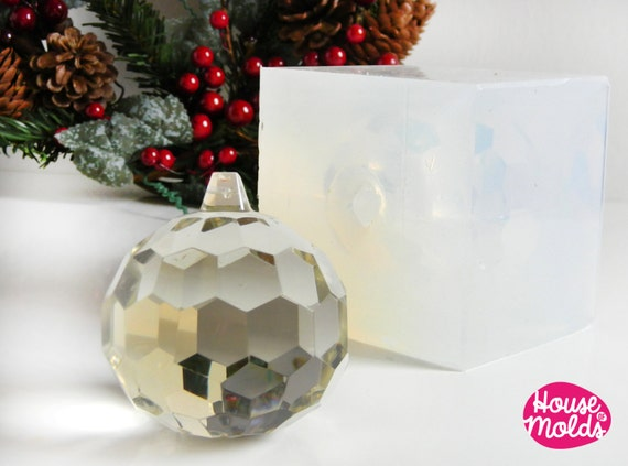 Faceted ball Clear Mold  ,Mold for  3D Christmas Ball , paper weight ,art projects,wedding decorations,house of molds crystal clear molds