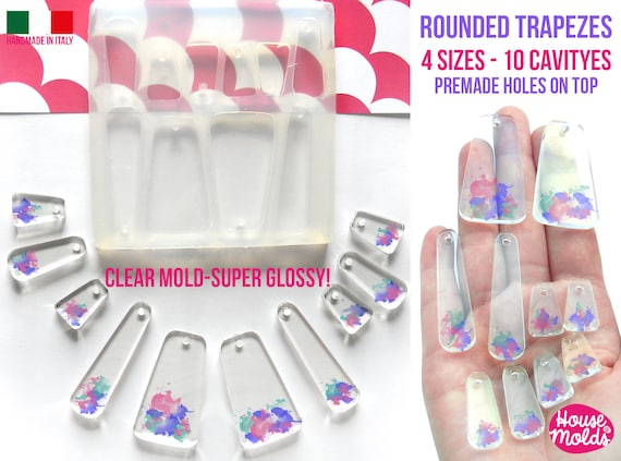 10 Rounded Trapezes Set + premade holes on top Clear Flexible Silicone Mold- super glossy resin creations very shiny surface easy to use !