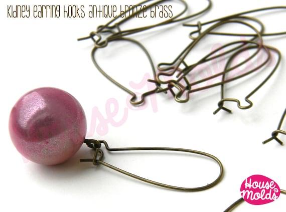 Kidney Earrings Hooks-Antique Bronze Brass 13mm x 33 mm - Simple design to create many earrings styles!