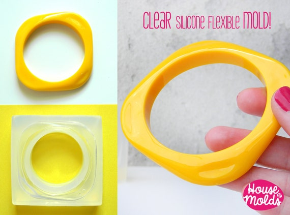 Square Retro Bangle Mold ,Clear Rubber mold,mold to make square bangle with rounded corners- resin bangle maker