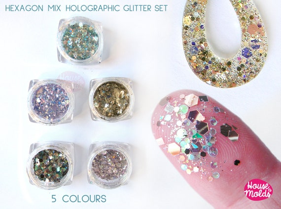 Hexagon Glitter Mix Holographic set 5 colours ,sparkly + special effects  ideal for resin or nail art-Add some Bling to your creations!