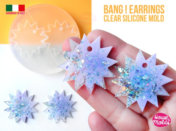 Bang ! earrings Clear Molds , Premade Holes on top , measurements 38 mm diameter , thickness 2 mm  easy and  super shiny - house of molds