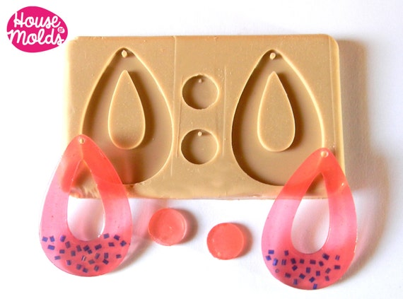 Silicone Mold for Teardrop earrings-60s earrings Drops Mold,earrings 59 mm x 38 mm 2 mm thickness-super shiny results