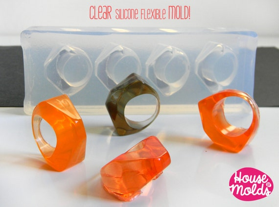 Clear Multi Size Mold for  4 sizes Triangle Rings- Clear  Mold to make 4 resin rings