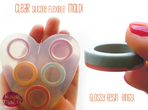 Clear Mold for Multi-size Band rings,rings maker mold,transparent mold to make 5 sizes rings,super shiny surface silicone mold
