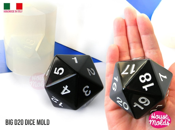 D20 Big Dice Mold 5 x 6 cm Clear Silicone Molds HOUSE OF MOLDS  Role Play dice mold  with countdown numbers position,super shiny