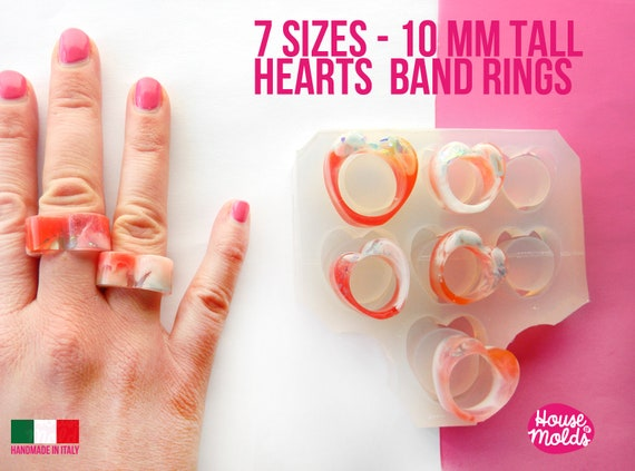 7 Sizes Heart  Band Rings Clear Mold,Mold for Multisize heart  Band rings 10 mm tall  from Usa size  5 to 11.5 -super glossy resin creations