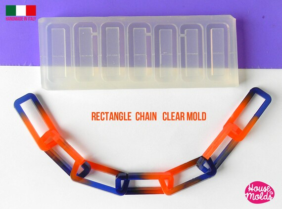 Rectangles CHAIN Clear Mold - each rectangle is  38x15 mm -great to  make resin collier , bangles , earrings -shiny surface super glossy