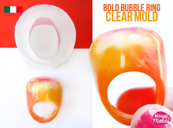 Bold Bubble ring Clear Silicone Mold,ring maker mold,transparent mold to make statement bubble rings,super shiny surface silicone mold