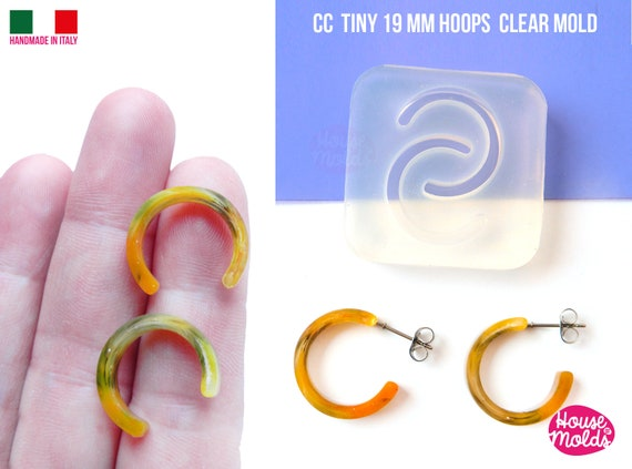 CC TINY  Flat Earrings Hoops Clear Mold , 19 mm diameter 4 mm thickness ,  very  easy Transparent Mold ,  super shiny - house of molds