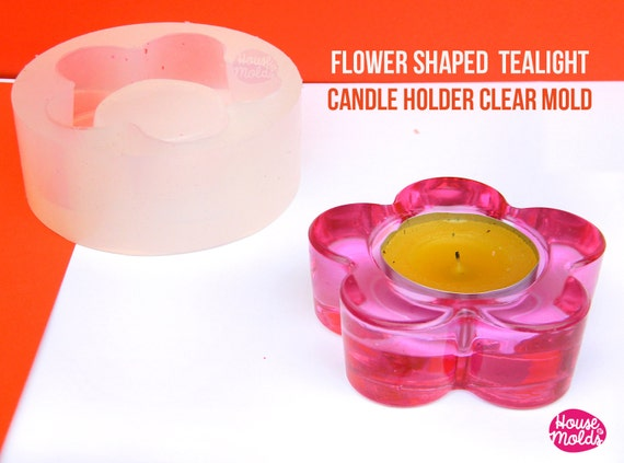 Flower Shape Tea Light Candleholder Clear Mold - candle holder or ring dish mold-72 mm diameter x 24 mm tall-super glossy resin reproduction