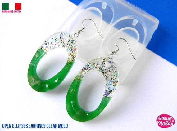 Open Ellipses Flat Earrings Clear Mold , Premade Holes , measurements 42 x 25 mm thickness 4 mm , easy and  super shiny - house of molds