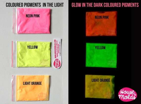 Bicolor Glow in the dark Pigments Kit of 3 -Coloured powders pigments in the light ,bright coloured in the dark--high glowing properties