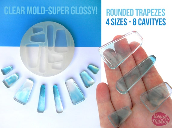 8 Cavityes ROUNDED TRAPEZES Clear Mold 4 sizes ,Mold to make resin collier,earrings, multiple pendants-very shiny surface super easy to use!