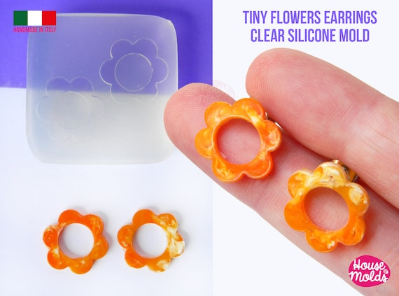 Tiny Flowers earrings Clear Molds , measurements 16 mm diameter -  thickness 2 mm - super shiny - house of molds