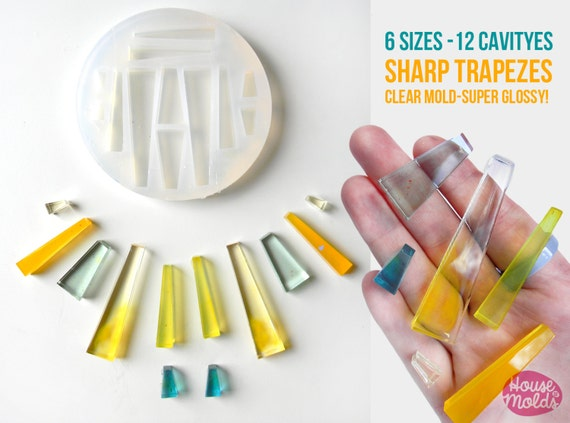 12 Cavityes SHARP TRAPEZES Clear Mold 5 sizes ,Mold to make resin collier,earrings, multiple pendants-very shiny surface super easy to use!