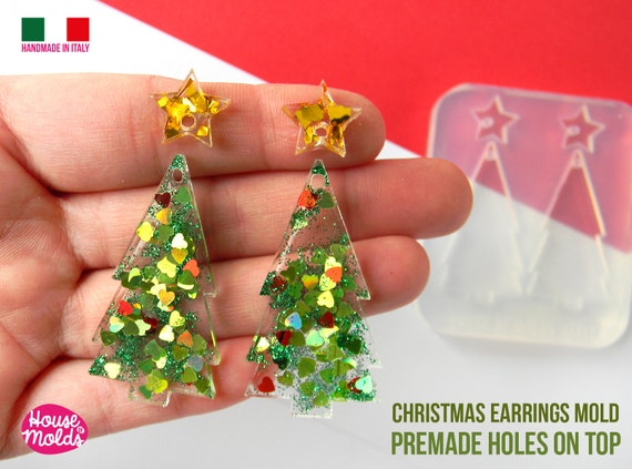 Christmas Tree earrings Set Clear Mold ,  Premade Holes on top , tree measurements 47 x 25 mm thickness 3 mm super shiny - house of molds