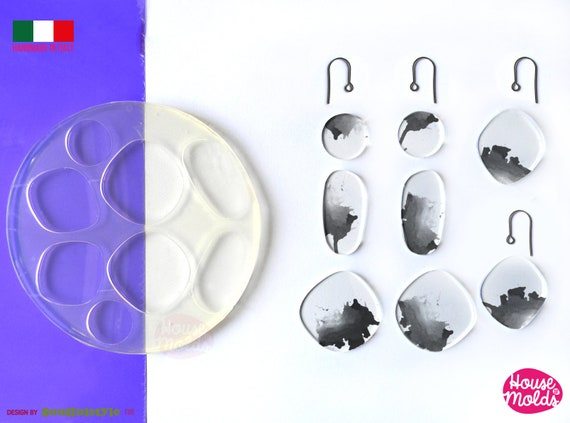 River Stones earrings set  Clear Mold , easy to use 8 Cavityes , Transparent Molds super shiny ! Soulfulstyle Design for House of molds HOM7