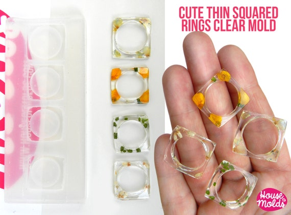 Squared Thin Band Rings Clear Mold-4 size mold,rings maker mold,super shiny surface silicone mold,stackable rings