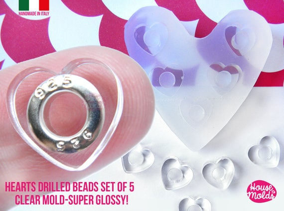 Drilled beads Heart Shape Set of 5 cavityes Clear Mold! Transparent Mold to make adorable hearts drilled beads,super shiny easy to use!