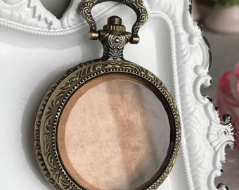 empty pocket watch case pendant steampunk antiqued bronze embossed metal amber glass locket assemblage jewelry supply
