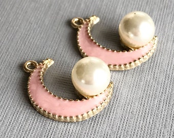 crescent moon charm x 2 pink moon pink enamel moon faux pearl moon celestial charm moon pendant gold moon bracelet earring supply 2 pcs