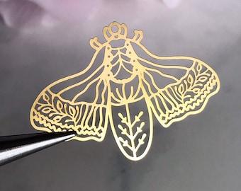 Rainbow Plated Brass Lasercut Butterfly Charms 4 Pcs