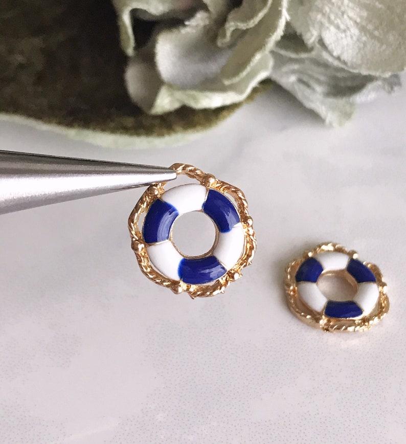 2 pcs life saver charms x 2 nautical jewelry supplies navy blue white stripe lifesaver charm enamel pendant earring bracelet findings