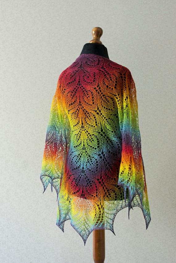 Knit Rainbow Triangular Shawl Hand Knit Shawl Mother Day