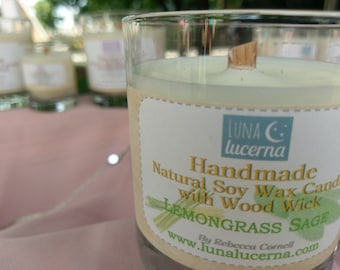 Soy Woodwick Candle | Summer & Herb Fragrance Collection | All Natural | scented | crackle | reusable