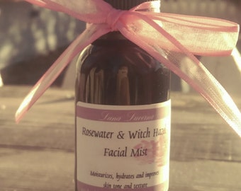 Rosewater & Witch Hazel Facial Mist | Toner | 2oz | Natural Facial Care | Add Tea Tree EO!