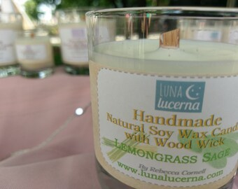 Soy Woodwick Candle   Summer & Herb Fragrance Collection   All Natural   scented   crackle   reusable
