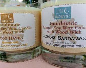 Soy Wax Candle with Wood Wick   All Natural   8oz   crackle   scented   reusable