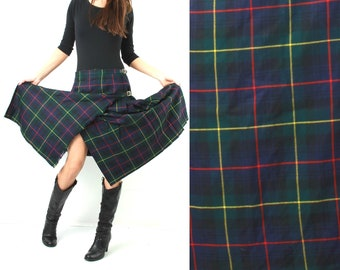 Vintage Skirt / Tartan Skirt / Scottish Skirt / Wrap Skirt / Plaid Skirt / Large Skirt / Checkered Skirt / Midi Skirt /Man Skirt /Boho Skirt