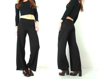 Vintage Black Pants / Black French Pants / Woman Black Pants / Transparent Pants / Long Black Pants / Made in France / Medium Pants