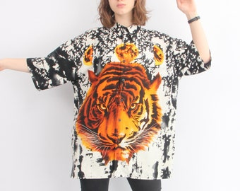 c33e5a6f4 90s Tiger Shirt / Vintage XXL Shirt / Million Guy Shirt / Tiger Print Shirt  / Animal Print Shirt / Hawaiian Shirt /Man Shirt XXL /Long Shirt