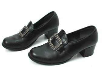 Norwegian Shoes / Norwegian Pumps / Vintage Black Pumps / Black Pumps / Dance Shoes / Black Faux Shoes / Folk Shoes / Baroque Shoes