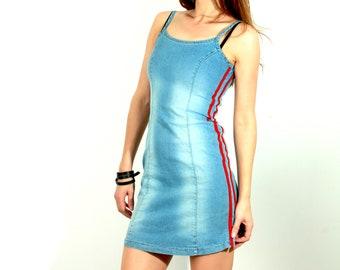 307eae5c6c 90s Denim Dress   Small Denim Dress   Sleeveless Dress   Grunge Dress   Vintage  Dress   Summer Dress   Stripes Dress   Blue Denim Dress