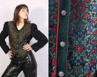 850ceb357ee28 Vintage Trachten Black Floral Helene Strasser Jacket   Dirndl Blazer    Austrian Jacket   Folk Jacket   Large Blazer   Traditional Jacket