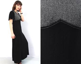 6cda61f184dc 70s Black Maxi Long Dress Merry Finn   Medium Dress   Vintage Maxi Dress    Metallic Dress   Event Dress   Boho Dress   Evening Dress