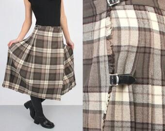 a3d8c5ab94f Jupe portefeuille vintage   Plaid jupe   jupe plissée   accordéon jupe   jupe  taille haute laine   jupe d hiver   Laird Hamid jupe   jupe Midi