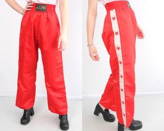 6663541f4c7 Vintage Red Sport Pants   Box Pants   Stretchy Waist Pants   Pants With  Stars   Large Sport Pants   Woman Red Sport Pants   Jute Sport