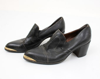 Men's Topman Black Leather Heel Shoes Size 8,5 / 42 EU