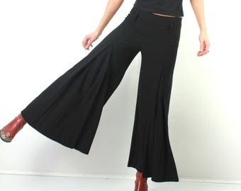 Vintage Black Pants / Flared Pants / Zizo Pants / 90s Black Pants / Medium Black Pants / High Waisted Pants / Woman Black Pants / Grunge